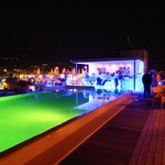 Poolside area at night