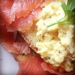 The smoked salmon and scrambled eggs on toast is yum!