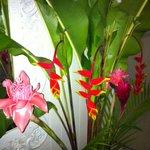 Fresh flowers in massage room