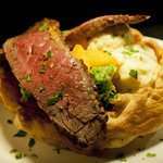 Aberdeen Angus sirloin of beef, Yorkshire pudding, roast vegetables