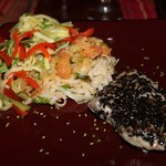 Tuna Steak with red curry veggie noodles