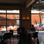 When the weather cooperates, the patio is a great choice.