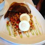 Brunch:  Smoked Turkey & Sweet Potato Hash w/Poached Eggs & Poblano Aioli
