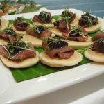 Catering: venison and tamarillo chutney on blini