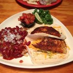 Blackened Tilapia fish tacos with red beans and rice