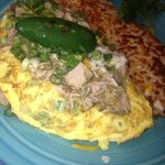 Special: Chile verde pork omelette with hash browns