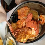 2 Mate Broiled split stuffed lobster, stuffed shrimp, scallops, deviled crab