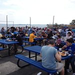 the outdoor dining scene at Johnny's Reef