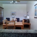 View of the dining room and living room from the kitchen