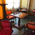 A dedicated chess table and chess set off the upstairs parlour.