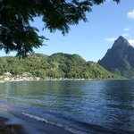 View of Pitons from Beach