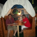 family eating at the covered wagon