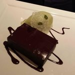 Chocolate brownie and pistachio ice cream dessert