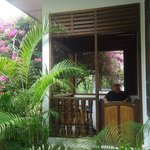Relaxing on the balcony of the bungalow