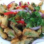 Tempura Asparagus Salad w/coconut milk-chili dressing