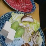 Sliced Beef and Vegetable selection for Shabu-Shabu