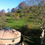 View of our Yurt, Garden & Chalice Hill