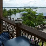 Sitting outside to eat - view 1 towards the lake
