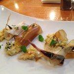Halibut Special- Lemon halibut ceviche, buttery creamed corn, and fingerling crisps