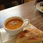 Sweet Potato Soup with Sandwich