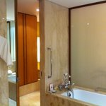 Bathroom has both shower and bathtub