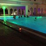 courtyard pool at night