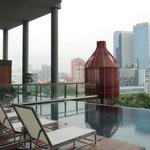 """The pool """"pods"""" overlooking the city beyond."""
