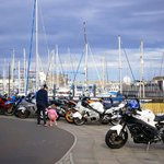 View of the marina from The Velvet Lobster during TT week (hence all the bikes)