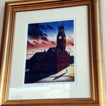 Print in the bar: a painting by John Diffin of Barrow Town Hall