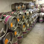 Racked beer awaiting delivery