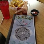 Chips, salsa and menu