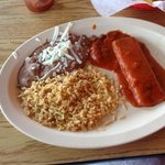 Cheese enchilada, rice and beans