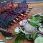 Lamb ribs and salad
