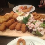 The huge seafood platter (minus a few nibbles.)