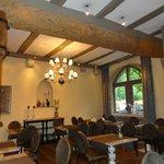beam ceiling in dining room