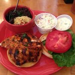Blackened Fish Sandwich, Black Beans and Rice, Cole Slaw
