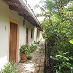 Vista exterior de las habitaciones y zonas verdes que dan frescura