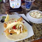 Fish tacos with side of cole slaw