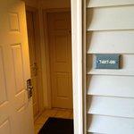 Outer door opens up to room doors