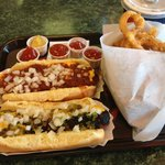 Chili/cheese/onion dog, relish/mustard/onion dog with onion rings & root beer