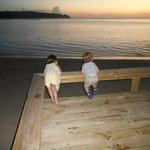 The kids enjoying the sunset before dinner
