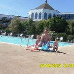 the outside pool with my lush hubby and twins