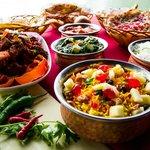 Vegetable Biryani, Naan and Various Curries