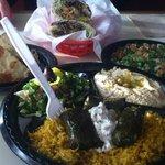 veggie platter and heart of Jerusalem sadwich