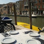 Breakfast table on the canal