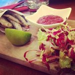 salt and pepper whitebait - with tomato and chilli jam