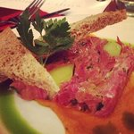 Ham Hock and Leek Terrine with granary toast and butternut squash and chilli purée