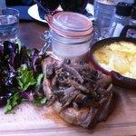 côte de veau, sauce forestière et gratin dauphinois