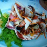 Fresh and beautifully presented seafood salad