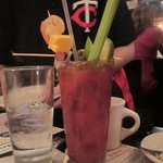 Bloody mary with celery, cheese, beef jerky, shrimp, olive, pickle and maybe more!